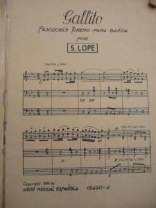 Partitura del genial pasodoble Gallito, del maestro Santiago Lope.