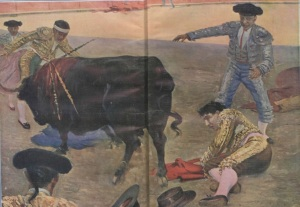 Ilustración de la grave cogida de Joselito el Gallo.