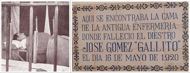 Joselito inerte en la camilla de la enfermería y la actual placa donde se indica donde estuvo la mencionada camilla.