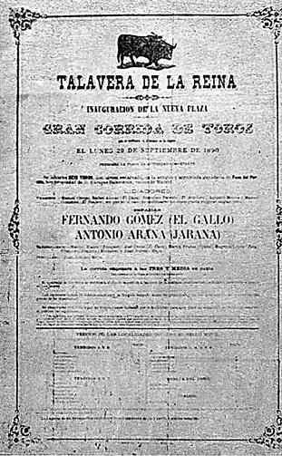 Cartel de la inauguración de la plaza de Talavera por Fernando el Gallo y Jarana en 1890.